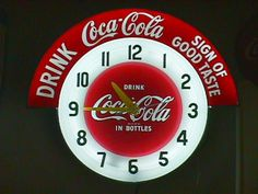 coca cola neon clock sign