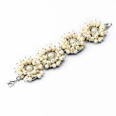 Wholesale Women Accessories White Resin Pearl Silver Bracelets