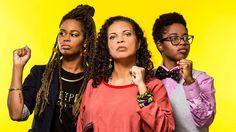 """Shamell Bell, left, Melina Abdullah and Povi-Tamu Bryant are key leaders of """"leaderless"""" Black Lives Matter."""