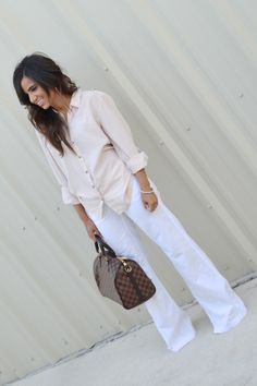 White linen pants with blush pink top