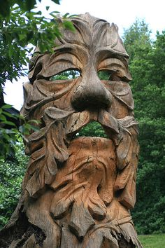See this fabulous carving, The Green Man, at the Morris Arboretum of the University of PA in Philadelphia. The artist, Marty Long, carved him out of an old beech tree stump. Morris Arboretum, In Natura, Tree Carving, Wood Creations, Land Art, Wood Sculpture, Tree Art, Statues, Graffiti