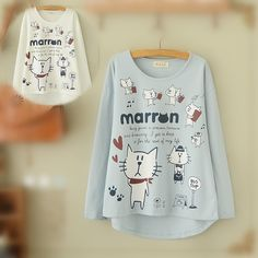 Blue/Beige What A Kitty Daily Life Jumper Shirt SP154313