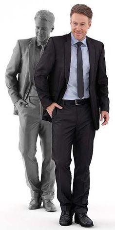 free renderpeople 3d model, white business man standing