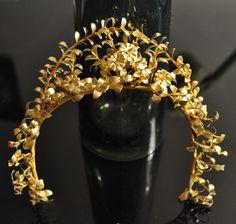 1900s Antique German RARE gold TIARA crown garland Victorian headdress myrtle flower leaves