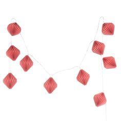 Leuchtgirlande aus Papier, L 210cm, koralle