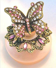 Pink Frosted Pink Clear Crystal Butterfly Perfume Bottle