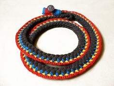 crochet cotton jersey necklace.doing this with leftovers from tshirt quilts