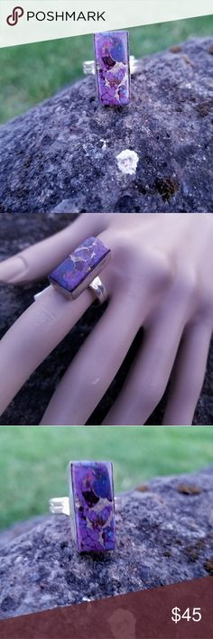 Purple turquoise ring Genuine purple copper turquoise and 925 Sterling silver, size 9 NWOT Robin's Nest Jewels Jewelry Rings