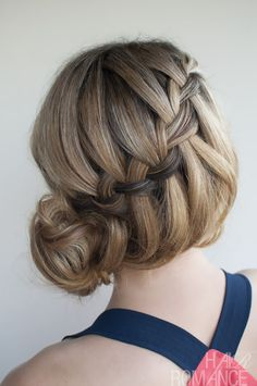Waterfall Braid Updo Hairstyles   Picture of Waterfall Braided Bun - Elegant Formal Updos for Women ...