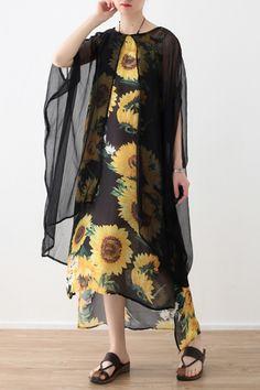 f149f828ab571 Style yellow print chiffon clothes Fashion Neckline o neck false two pieces  Art Summer Dress