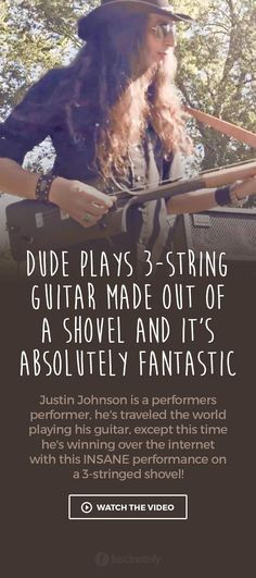 Dude Plays 3-String Guitar Made Out of a Shovel and it's Absolutely Fantastic