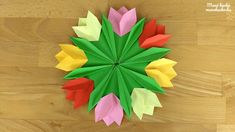 Tulipános ajtódísz papírból - Manó kuckó Diy And Crafts, Crafts For Kids, Paper Crafts, Origami Flowers, Spring Time, Preschool, Easter, Halloween, Decor