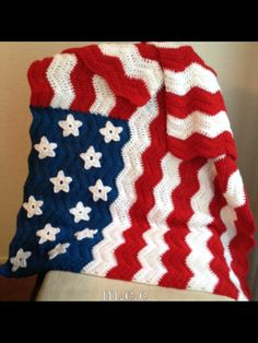 American flag inspired crochet lap afghan blanket 33x45in. Red, White, and Blue with Stars Chevron stitch