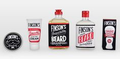 I like these when displayed as a series better than individual products. The hand-drawn elements are a fun idea, though I think they could use something to make them cohesive. Not bad for a student concept!     Finston's Beard Care   Designed by Joey Ellis, student