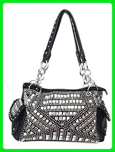 bf3785421d18 Zzfab Gem Studded Rhinestone Concealed and Carry Purse Black - Shoulder bags  ( Amazon Partner