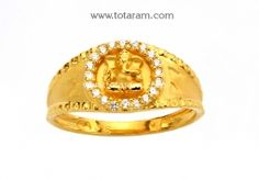 Buy 22K Gold 'Ganesh' Ring for Men with Cz - GR3867 with a list price of $331.99 - 22K Indian Gold Jewelry from Totaram Jewelers
