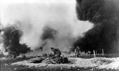 1916 German flamethrower troops in combat.