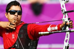 Juan Rene Serrano of Mexico in action in the men's Team Archery Eliminations match between Mexico and Malaysia on Day 1 of the London 2012 Olympic Games at Lord's Cricket Ground on July 28, 2012 in London, England.