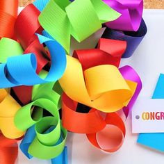 Celebrate Marriage Equality and all the colours of the Rainbow with 31mm Matte Curling Ribbon, made in Italy. Paired together with CONGRATULATIONS Gift Tag.