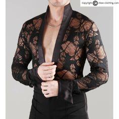Camisa combinada con saten en puños y cuello. Diferentes colores y tejidos..#ropabailehombre