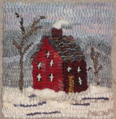 """""""Winters Day"""" Rug in A Day Linen Pattern Primitive Rug Hooking   eBay"""