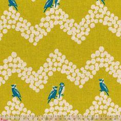 Kokka Echino Anniversary Parakeet On Mustard Linen Blend Echino, Fabric Blinds, 10 Anniversary, Fabulous Fabrics, Parakeet, Home Decor Fabric, Haberdashery, Folk Art, Mustard