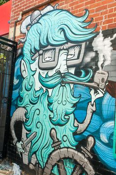 Street art, graffiti, man, beard, glasses, pipe, sailing, beautiful, wall, photo.