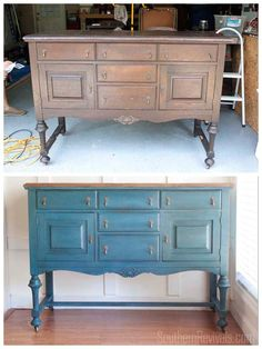 Antique Sideboard Buffet Makeover with milk paint Refurbished Furniture, Paint Furniture, Repurposed Furniture, Furniture Projects, Furniture Makeover, Hutch Makeover, Wooden Furniture, Antique Furniture, Outdoor Furniture
