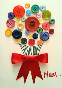 Mother's Day handmade card button bouquet #craft
