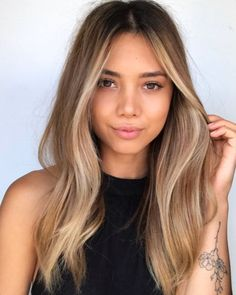 Hair Color Balayage, Blonde Color, Hair Highlights, Ombre Hair, Balyage Long Hair, Balayage Straight Hair, Black With Blonde Highlights, Face Frame Highlights, Bronde Haircolor