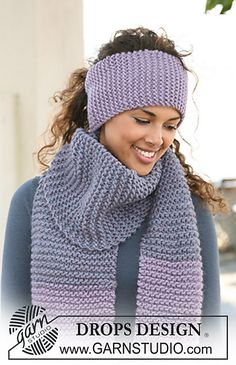 """Ravelry: 126-18 a - Headband in garter st in """"Eskimo"""" pattern by DROPS design.  http://www.ravelry.com/patterns/library/126-18-a---headband-in-garter-st-in-eskimo"""