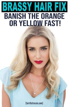 Need DIY fixes for orange brassy hair? Get four ways to beat the brass and get amazing hair color again. Blonde Hair At Home, Yellow Blonde Hair, Blonde Color, Ombre Color, Brassy Blonde, Brassy Hair, Cute Hair Colors, Cool Hair Color, Toning Bleached Hair
