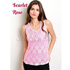 D of the D-20% OFF! Pretty in Pink Lace Tanks I have chosen this top as my DEAL OF THE DAY!! I have already taken 20% OFF the retail price, so you can purchase this listing! This would look fabulous with shorts, skirts, or jeans. And it's a great summer tank. I have Sizes S(2-4), M(6-8), and L(10-12). These tops are flirty & feminine, and just perfect for Summer. Please feel free to ask any questions you may have about this item - I am happy to answer! Price is firm unless bundled. Happy…
