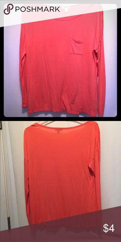 Coral Long sleeve Size Large Old Navy coral shirt. Long sleeve with pocket. Worn once. Old Navy Tops Tees - Long Sleeve