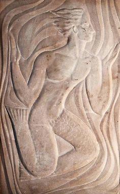 """Merman"" Art Deco Bas Relief in Sandstone c.1930"