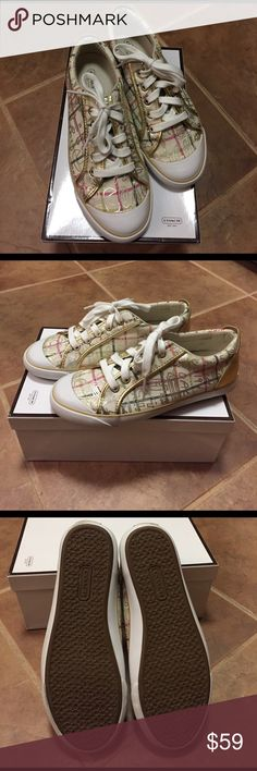 Coach Barrett canvas graffiti sneakers. Size 7 Coach Barrett canvas graffiti sneakers with gold  leather trim and print.  New in box.   Size 7 Coach Shoes Sneakers