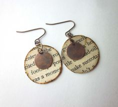 Just $12, handmade book page earrings, book earrings, literary earrings, neat gift idea, stocking stuffer