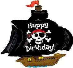 "Custom, Fun & Cool {XXL Massive Huge Size 46"" Inches - 3.4 Feet} 1 Unit of Helium & Air Inflatable Mylar Aluminum Foil Balloon w/ Happy Birthday Pirates Design [in Pastel Brown, Black, White & Blue] mySimple Products"