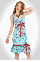 "Broad Minded Clothing - ""Cherry Struck a Chord with Me"" Turquoise Blue Soft Velveteen Corduroy Dress"