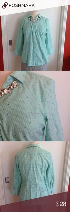 """Talbots Green Striped Button Down Blouse Talbots button down blouse. Green stripes with polka dots, collared, button down, wrinkle resistant. Size 8. Material: 100% cotton. Machine wash cold. Measurements: shoulders: 15.5"""", bust: 18"""", length: 24"""", sleeve length: 19.5"""". Pre-loved, beautiful condition. No flaws seen. Talbots Tops Button Down Shirts"""