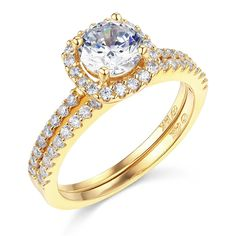 14K Yellow OR White Gold SOLID Wedding Engagement Ring and Wedding Band 2 Piece Set -- Check this awesome image  : Bridal Sets