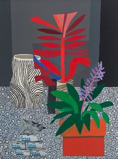 Jonas Wood, Untited (Red Plant), 2012, 40 x 30 in.