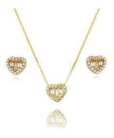 conjunto de brinco e colar folheado a ouro com zirconias baguetes cristais semi joias da moda