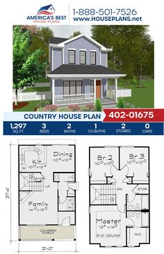 Standing tall and proud, Plan 402-01675 offers a 2-story Country home with 1,297 sq. ft., 3 bedrooms, 2.5 bathrooms, and a front porch. #countryhouse #twostoryhome #architecture #houseplans #housedesign #homedesign #homedesigns #architecturalplans #newconstruction #floorplans #dreamhome #dreamhouseplans #abhouseplans #besthouseplans #newhome #newhouse #homesweethome #buildingahome #buildahome #residentialplans #residentialhome Best House Plans, Country House Plans, Dream House Plans, Dormer Windows, Two Story Homes, New Construction, Facade, Building A House, Architecture Design