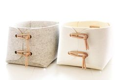Storage bins with natural leather details Two by SKANDINAVIOUS