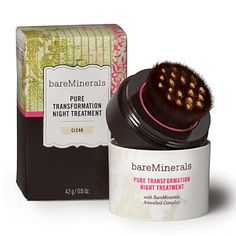 Want to look gorgeous when you go to bed AND when you wake up? bareMinerals Pure Transformation Night Treatment with Active Soil Complex is just what you need. This treatment is clinically proven to reduce the appearance of pores, increase luminosity and deliver faster cell turnover giving amazing skin-renewing benefits. Buff it on to achieve younger-looking, radiant, even skin tone with improved texture. This product gives you 3X more antioxidant protection than pomegranates & blueberries…