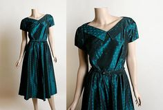Vintage 1950s Dress - Dark Teal Polka Dot Cocktail Party Classic Dress - V-Neck Belted Midi Tea Length - Sue Mason Jr Saba of California Small by zwzzy
