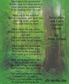 Invocation and Earth Goddess Charge By Anita Ireland