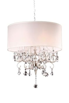 "Features:  -6 lights.  -Shade for the chandelier is removable.  -Ceiling canopy diameter: 4"".  -Bulb included.  -Faceted glass.  Chandelier Type: -Drum chandelier.  Finish: -Silver Nickel .  Material:"