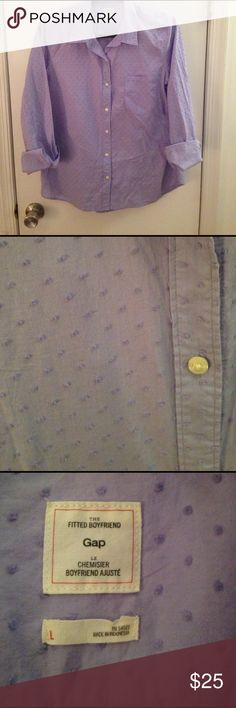 GAP button down shirt Never worn! Loose fit GAP button down with cute textured polka dots. Color is a lavender/light purple. GAP Tops Button Down Shirts